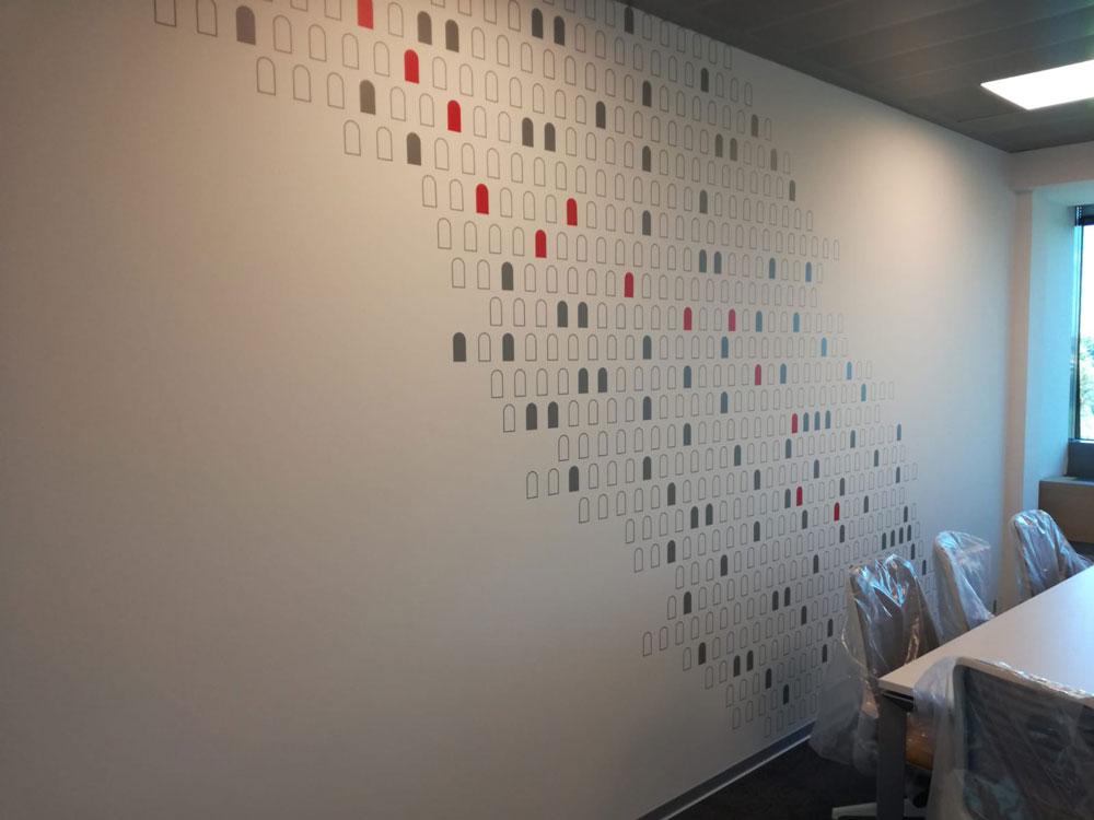 Ambientazione interna Adesivo su parete stampa in quadricromia