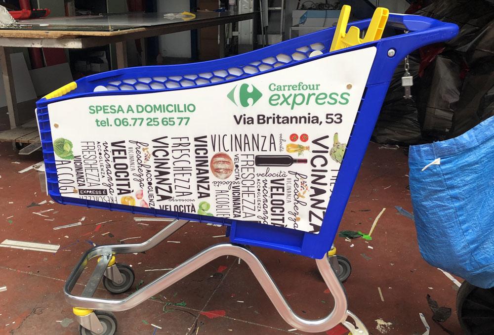 Ambientazioni carrelli spesa pvc intagliato e stampa in quadricromia